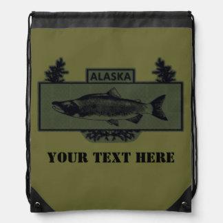 Subdued Alaska Combat Fisherman Badge Drawstring Backpack