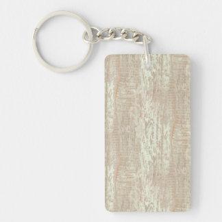 Subdued Coastal Pine Wood Grain Look Double-Sided Rectangular Acrylic Keychain