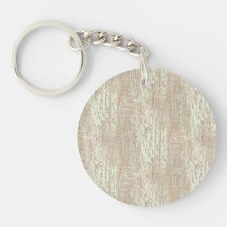 Subdued Coastal Pine Wood Grain Look Double-Sided Round Acrylic Keychain