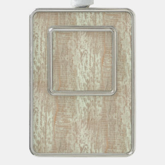 Subdued Coastal Pine Wood Grain Look Silver Plated Framed Ornament