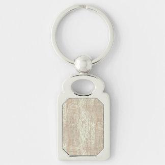 Subdued Coastal Pine Wood Grain Look Silver-Colored Rectangular Metal Keychain