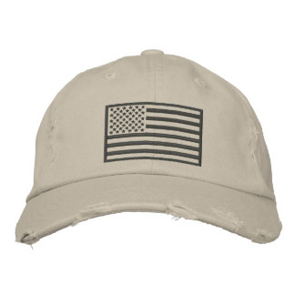 Subdued Colors U.S. Flag Distressed Embroidered Embroidered Baseball Cap