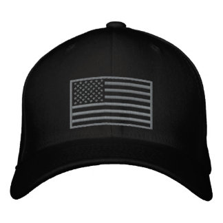 Subdued Colors U.S. Flag Embroidered Hat (Black)