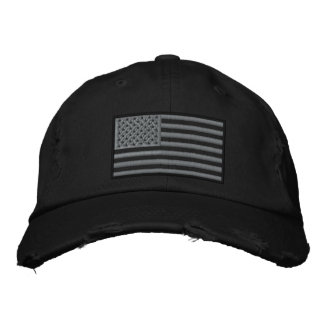 Subdued Colors US Flag Embroidered Distressed Hat