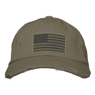 Subdued Colors US Flag Embroidered Hat