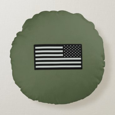 Subdued Military Flag Round Pillow