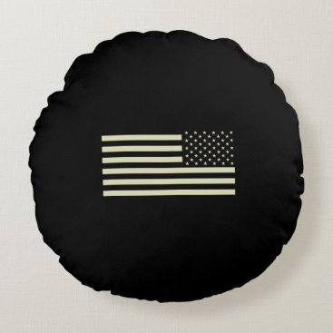 Subdued Military Flag - Sand Round Pillow