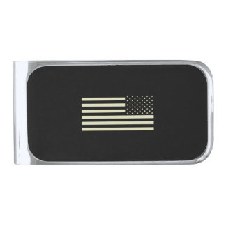 Subdued Military Flag - Sand Silver Finish Money Clip