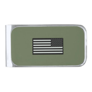 Subdued Military Flag Silver Finish Money Clip