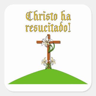 Suben a Cristo Pegatina Cuadrada