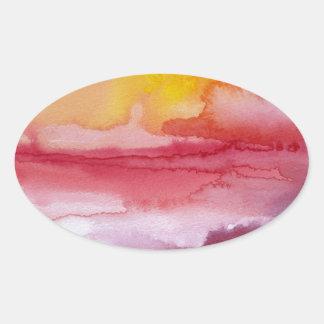 Subida - acuarela abstracta roja Sunsrise de Ombre Pegatina Ovalada