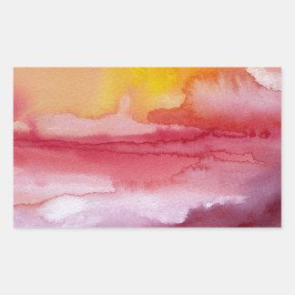Subida - acuarela abstracta roja Sunsrise de Ombre Pegatina Rectangular