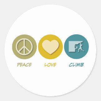 Subida del amor de la paz pegatinas redondas