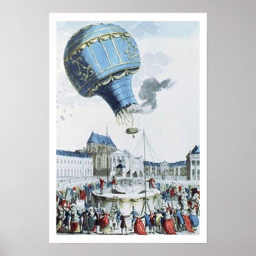 Subida del globo de aire caliente de los hermanos  póster