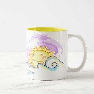 Subida feliz del sol taza de café