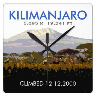 Subida personalizada del Mt Kilimanjaro Reloj Cuadrado