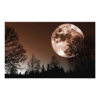 subida roja de la luna sobre bosque oscuro cojinete