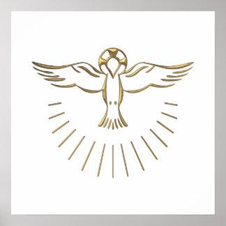 """Subida """"tridimensional"""" de oro del Espíritu Santo Póster"""