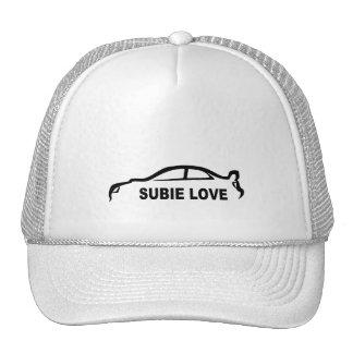 Subie Love Black silhouette Mesh Hats