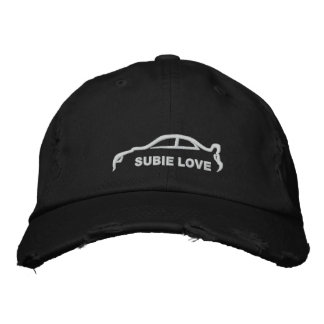 Subie Love White Silhouette Embroidered Hats