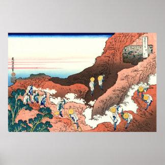 Subiendo en el monte Fuji, por Katsushika Hokusai Póster