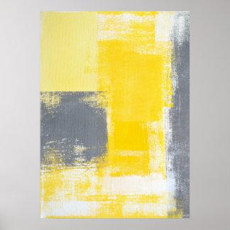 """""""Subiendo"""" poster gris y amarillo del arte"""