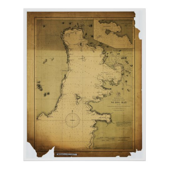 Subig Subic Bay Luzon Philippines 1902 Map Poster Zazzle Com