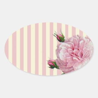 Subió en rayas rosadas y blancas pegatina ovalada