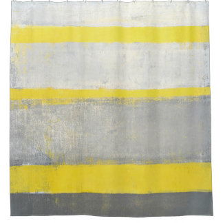 'Subjected' Grey and Yellow Abstract Art Shower Curtain