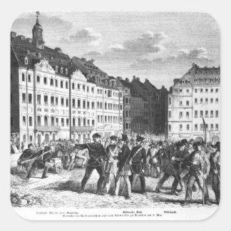 Sublevación en Dresden Pegatinas Cuadradas Personalizadas