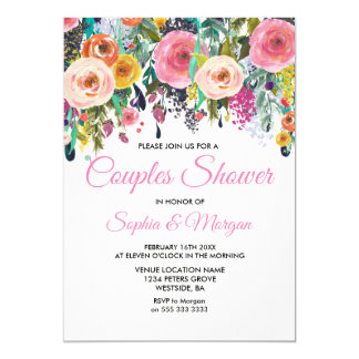 Sublime Pink Floral Colorful Couples Shower Invite