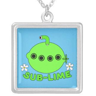 Sublime Sub Lime Square Pendant Necklace