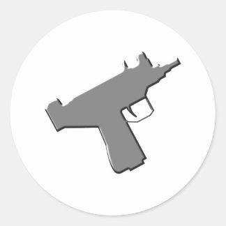 Submachine gun machine pistol Uzi Round Stickers