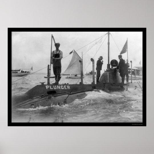 Submarine and Sailboat 1905 Poster