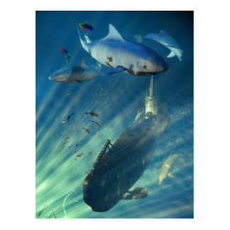 Submarine and Sharks Postcard