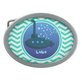 Submarine; Aqua Green Chevron Oval Belt Buckles