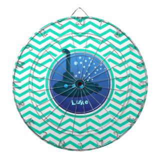 Submarine; Aqua Green Chevron Dart Board
