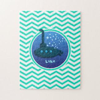 Submarine; Aqua Green Chevron Jigsaw Puzzles