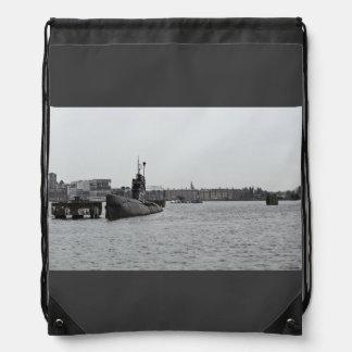 Submarine at a port drawstring bag
