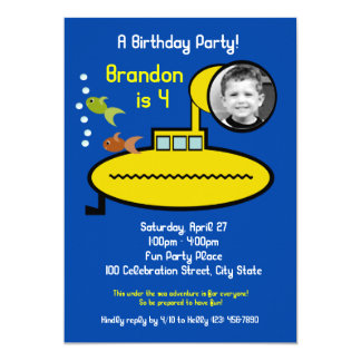 Submarine Birthday Party with Photo Card