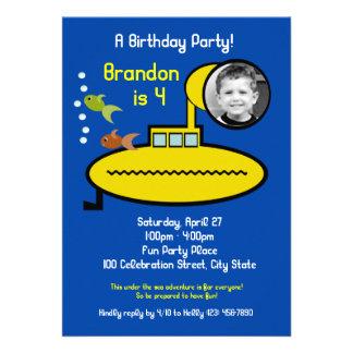 Submarine Birthday Party with Photo Custom Announcement