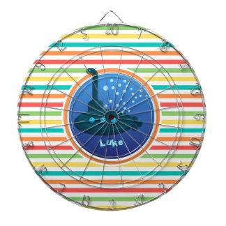 Submarine; Bright Rainbow Stripes Dartboard With Darts