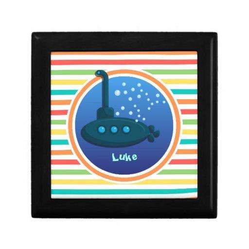 Submarine; Bright Rainbow Stripes Trinket Box