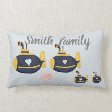 Submarine family 2 kids customize name lumbar pillow