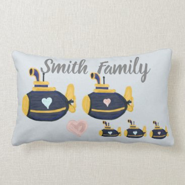 Submarine family 3 kids customize name  pillow for