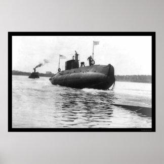 Submarine Launch Navy 1909 Poster