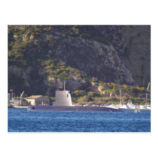 Submarine putting to sea. postcard