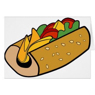 Submarine Sandwich cartoon Card