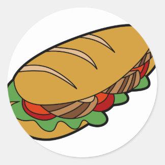 Submarine Sandwich cartoon Classic Round Sticker