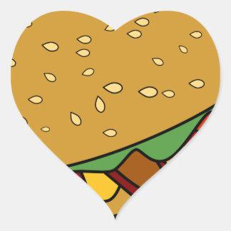 Submarine Sandwich cartoon Heart Sticker